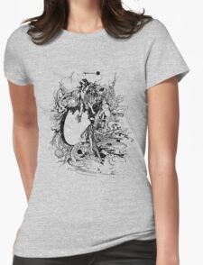 Vintage Fairies Magic Illustration Antique Ink Artwork Dictionary Book Page Art Womens Fitted T-Shirt
