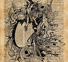 Vintage Fairies Magic Illustration Antique Ink Artwork Dictionary Book Page Art by DictionaryArt