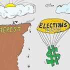 How the mighty have fallen - with parachute - editorial cartoon by Binary-Options