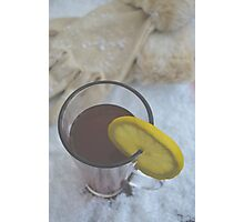 Winter Warmer Ginger Tea with Lemon Slice in the Snow Photographic Print