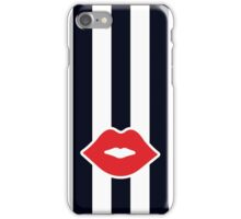Red Lips with Stripes iPhone Case/Skin