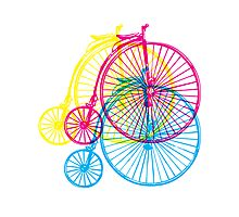 Colourful penny farthings Photographic Print