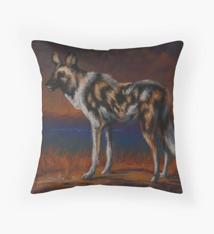 African Wild Dog Pastel Painting Throw Pillow