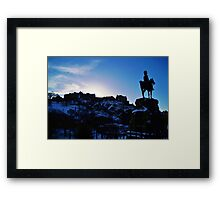 Edinburgh Castle in blue Framed Print
