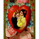 Romantic Couple With Hearts & Roses (Vintage Valentine Greeting Collage) by Joseph Welte
