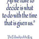 Tolkien, All we have to decide, The Fellowship of the Ring by TOM HILL - Designer