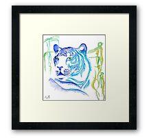 White Tiger Ink Drawing Framed Print