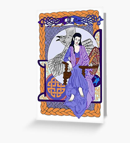 Cobalt Celtic Corbie Queen Greeting Card