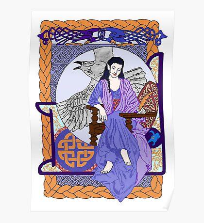 Cobalt Celtic Corbie Queen Poster