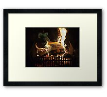 Green Flames Licking Cardboard Framed Print