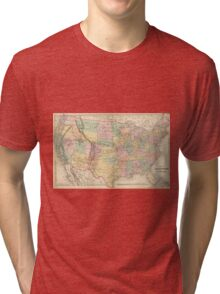 Vinage Map of The United States (1873) Tri-blend T-Shirt