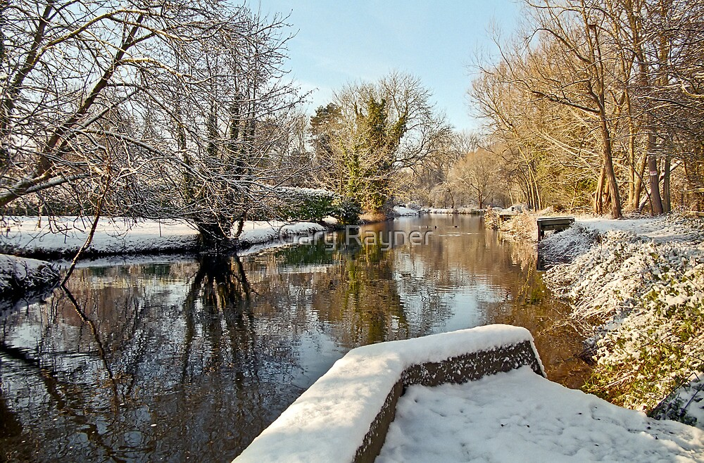 Snow on the river-bank by Gary Rayner