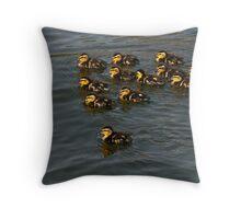 12 Ducklings Throw Pillow