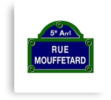 Rue Mouffetard, Paris Street Sign, France Canvas Print