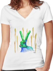 Rabbit sitting in a wheat field Women's Fitted V-Neck T-Shirt