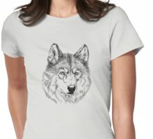 Arctic wolf face Womens Fitted T-Shirt