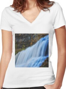 Willow River Falls 7 Women's Fitted V-Neck T-Shirt