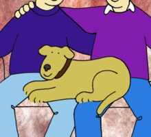 Gay anniversary, couple with dog on sofa. Sticker