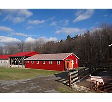 Red Barn under a Blue Sky Photographic Print