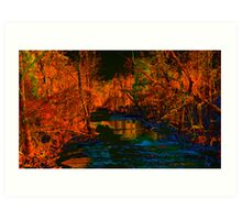 Blue Creek in Orange Art Print
