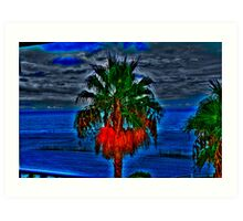 Blue Palm Tree Art Print