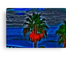 Blue Palm Tree Canvas Print