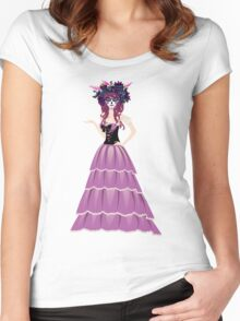 Sugar Skull Girl in Flower Crown 6 Women's Fitted Scoop T-Shirt