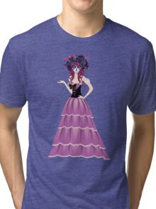 Sugar Skull Girl in Flower Crown 6 Tri-blend T-Shirt