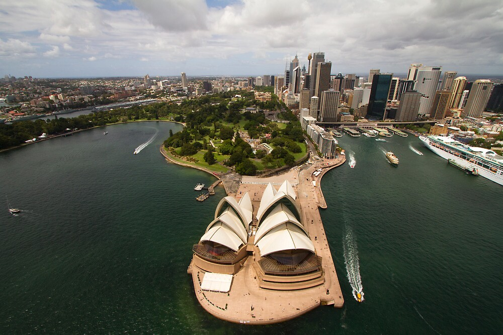 Sydney city from the air with the opera house in the foreground by Steve Munro