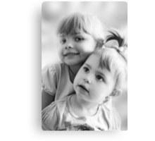 Portrait Of Two Sisters In Black And White Canvas Print