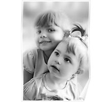 Portrait Of Two Sisters In Black And White Poster