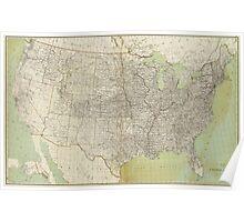 Vintage United States Map (1895) Poster