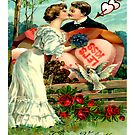 Let's Kiss (Vintage Valentine Greeting Collage)   by Joseph Welte