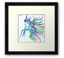 Unicorn Pen and Ink drawing Framed Print
