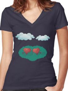 HEARTS IN THE CLOUDS Women's Fitted V-Neck T-Shirt