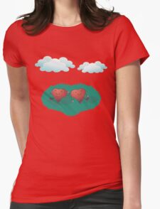 HEARTS IN THE CLOUDS Womens Fitted T-Shirt