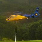 Goal!  RFS Chopper takeoff in heavy rain by Odille Esmonde-Morgan