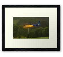 Goal!  RFS Chopper takeoff in heavy rain Framed Print