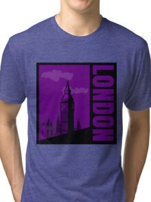 Minimalist London Big Ben - Comic Art Tri-blend T-Shirt