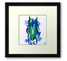 Horse Sea Pen and Ink Drawing Framed Print