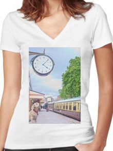 Waiting Time Women's Fitted V-Neck T-Shirt