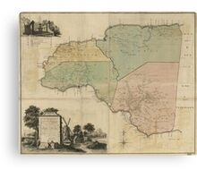 Map of Cornwall Count Jamaica (1763) Canvas Print