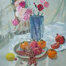 Still life - Some flowers in the vase,  pomegranates, persimmons, grapes  by proshkin