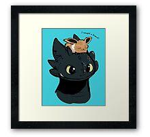 Toothless / Eevee Framed Print