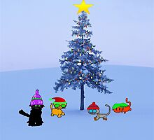 Four Cat By A Christmas Tree by JohnsCatzz