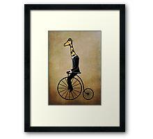 Penny-farthing Giraffe (Vintage Background) Framed Print