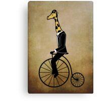 Penny-farthing Giraffe (Vintage Background) Canvas Print