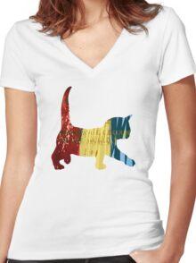Chameleon Cat Women's Fitted V-Neck T-Shirt