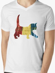Chameleon Cat Mens V-Neck T-Shirt