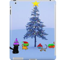 Four Cat By A Christmas Tree iPad Case/Skin